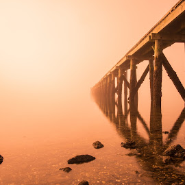 Cornwallis Wharf in Fog-  by Vern Brocas - Buildings & Architecture Bridges & Suspended Structures ( misty sea's, fog, seascape, wharf )