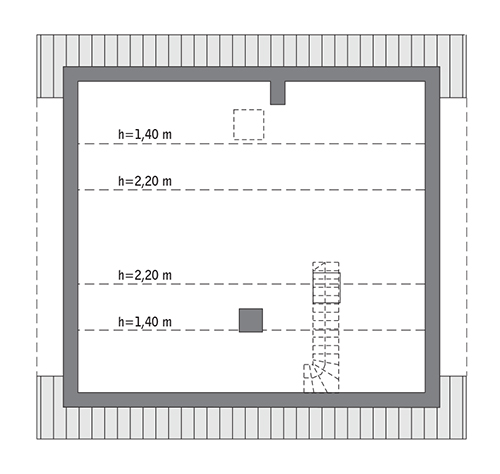 Miarodajny - wariant X - C333j - Rzut poddasza do indywidualnej adaptacji (43,0 m2 powierzchni użytkowej)