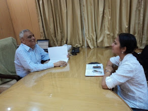 Photo: Ritika Sahni interviewing Mr. Prassana Kumar Pincha, Chief Commissioner for Persons with Disabilities, Government of India at his Delhi Office