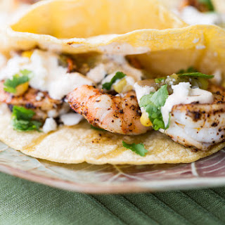 Spicy Shrimp Tacos with Toasted Corn Tortillas.