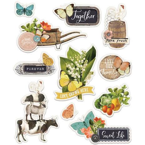 Simple Stories Layered Stickers 11/Pkg - SV Farmhouse Garden