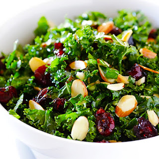 Kale Salad with Warm Cranberry Almond Vinaigrette.