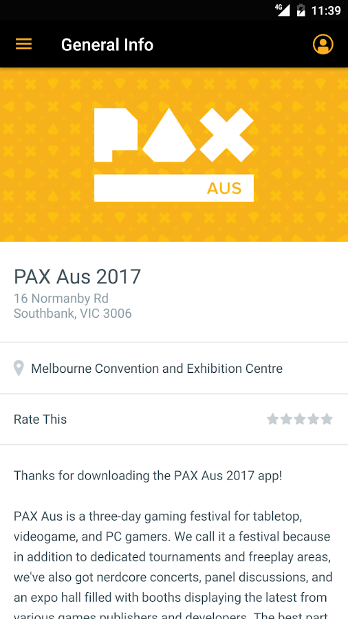 PAX Aus Mobile App- screenshot