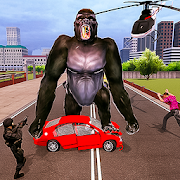 Angry Gorilla City Battle: Dinosaur Survival
