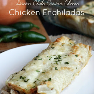 Green Chile Cream Cheese Chicken Enchiladas