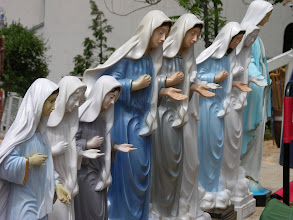 Photo: Many souvenirs at Medjugorje, site of apparitions of the Virgin Mary.