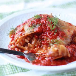 Slow Cooker Mushroom-Lentil Stuffed Cabbage Rolls Recipe