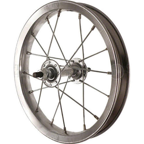 Sta-Tru Front Wheel 12 inch Silver Steel Rim with Solid Thread on Axle