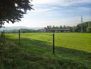 Photo: Panoramabild des Geländes zwischen ,RuheForst' und ,Im Kuckuck', aufgenommen oberhalb des Hauses Wolfskuhler Weg 53.