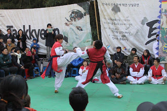 Photo: After Judo and Karate, Taekwondo, a Korean martial art, seems to gain popularity in Pune. I saw quite a few sports gyms and cultural clubs hosting classes. Soon we may find Indian fighters in Taekwondo's world championship or Olympic games! The photo is a scene from Taekwondo performance we came across on Insadong street in Seoul last December. 9th August updated -http://jp.asksiddhi.in/daily_detail.php?id=265