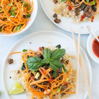 Thai Basil Beef and Cauliflower Rice Bowls.
