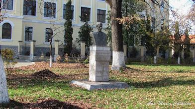 "Photo: Colegiul National ""Mihai Viteazul"", Str. Dr. Ioan Ratiu, Nr.111 - parculet, bustul lui Teodor Murasanu si ""Stejarul Unirii"" - (2013.10.29)"