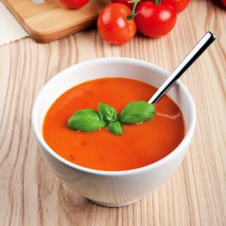 Freshly Blended Tomato Basil Soup Using A Nutribullet RX
