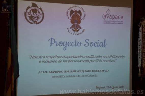 Presentación proyecto social #Talcom. Falla Mariano Benlliure - Acequia de Tormos.