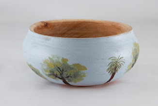 "Photo: Ed Karch 6"" x 3"" bowl [maple, milk paint]"