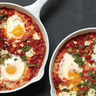Poached Eggs in Tomato Sauce with Chickpeas and Feta Recipe