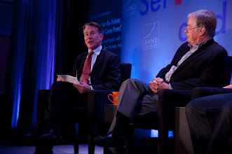 """Photo: Moderator Michael Portillo leads the closing conversation, """"Leadership for the Future: Where Will It Come From?"""" Saturday, Nov. 17 at the RAND Politics Aside event in Santa Monica. Kent Kresa is on the right."""