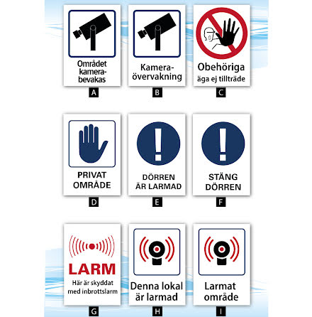 Skylt, kamerabevakning, larm, privat, A4, 210x297mm