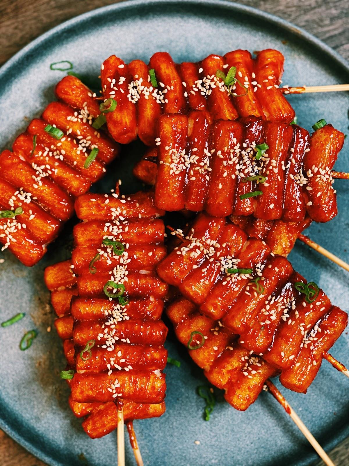Korean Spicy Rice Cakes Skewers