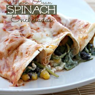 Healthy Black Bean Spinach Enchiladas.