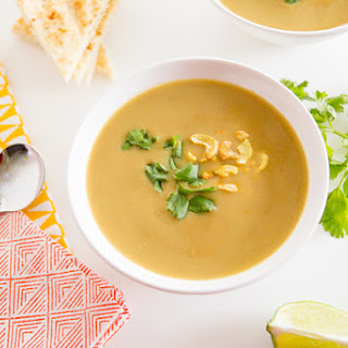 Red Lentil Cashew Soup with Curry Toasted Cashews