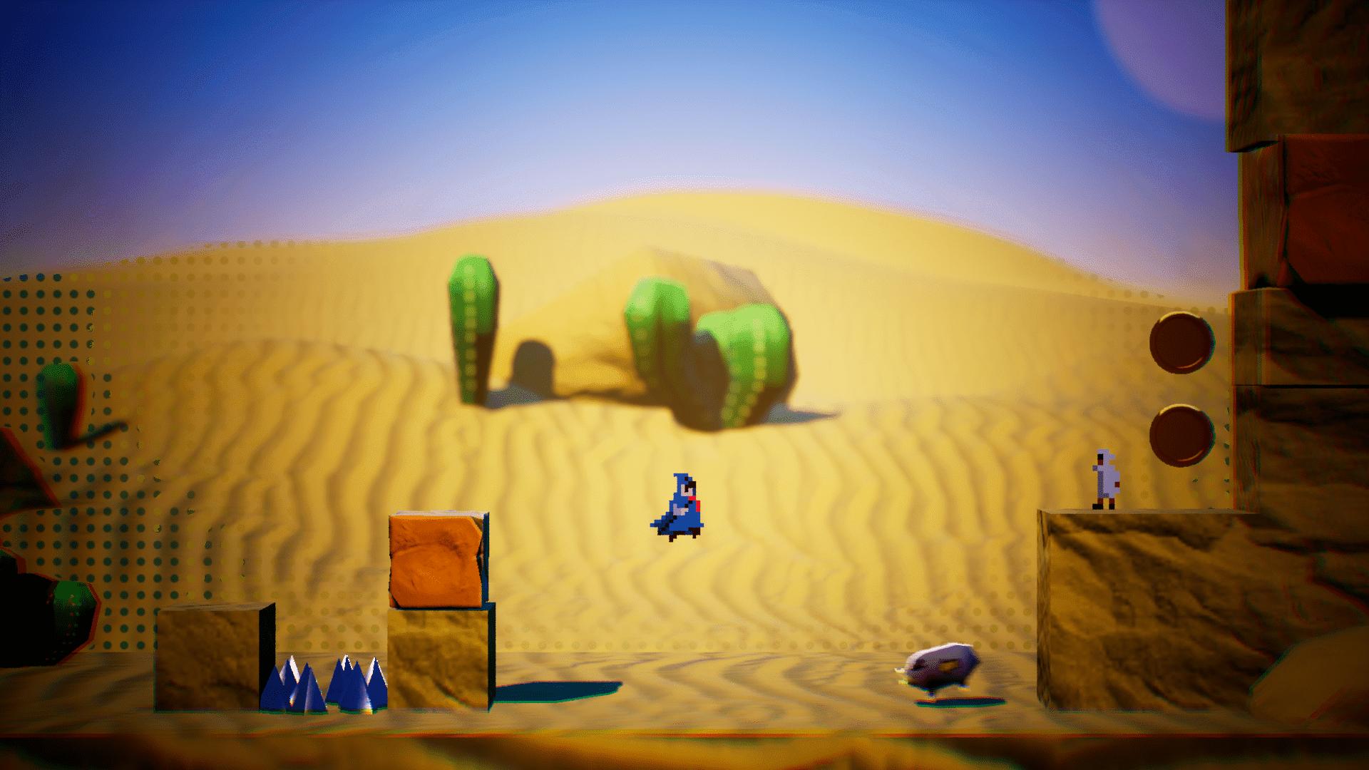 Pole Man jumping through a desert