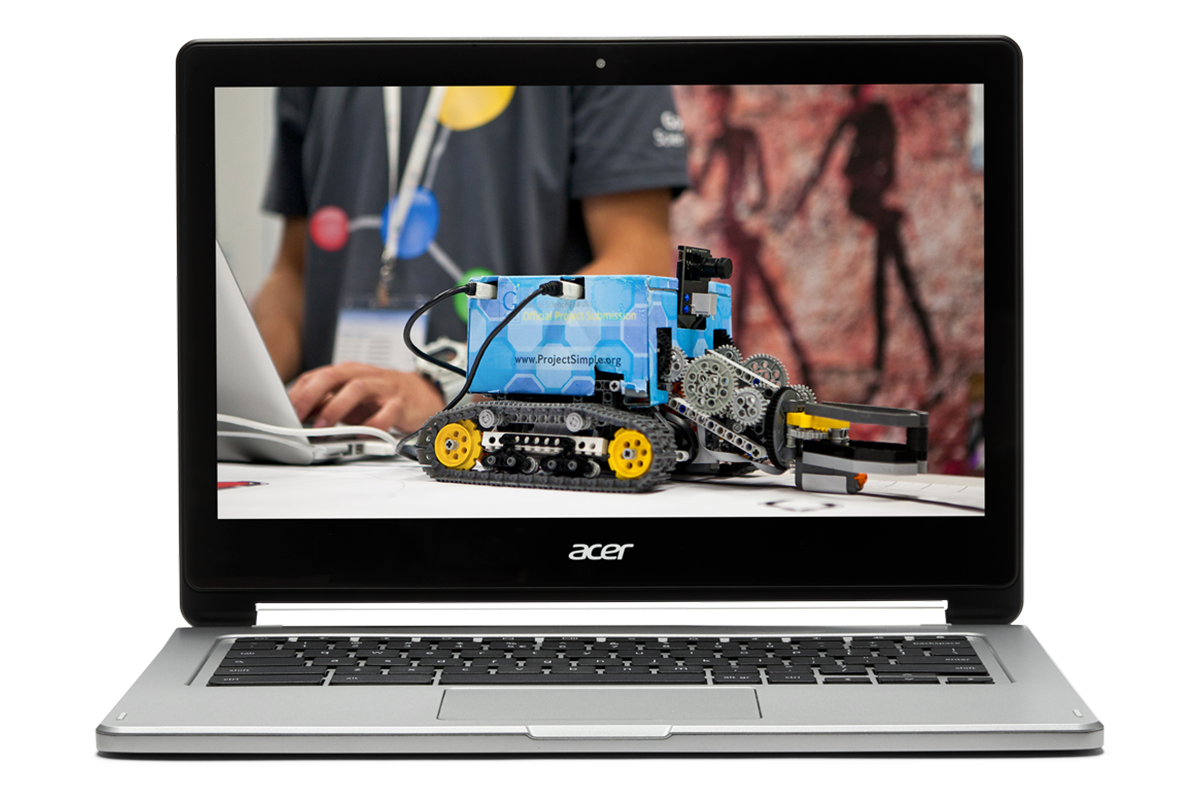 If you turn students into inventors You Chromebook. Image of a Chromebook showing a minature construction vehicle built by students.
