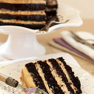 Espresso Chocolate Cake with Peanut Butter Frosting and a Rum Drizzle