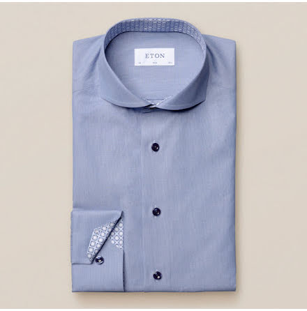 ETON Jaipur poplin blue hairline stripe light blue buttons contrast superslim fit