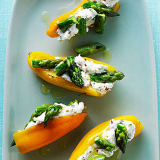 Mini Peppers Filled with Goat Cheese and Asparagus.