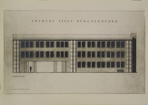 DESIGN FOR AN OFFICE BUILDING (Front view. Design by Reinhold Rossig, 1940/1941)