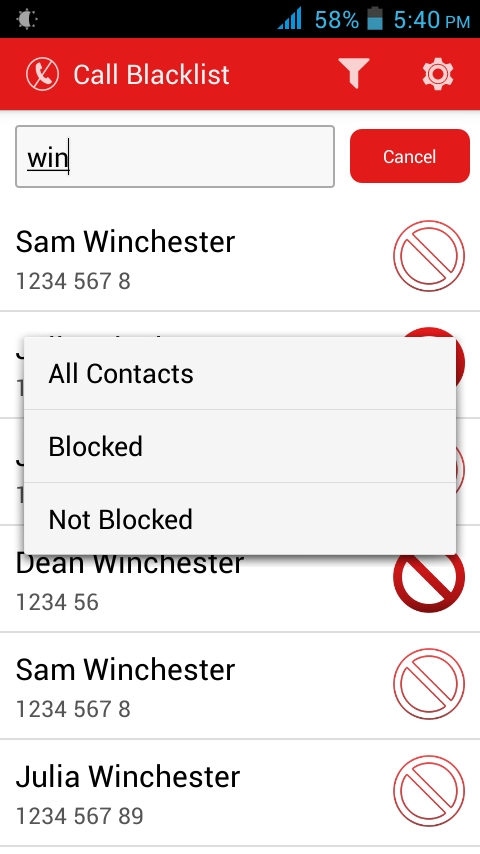 Call Blacklist - Call Blocker- screenshot