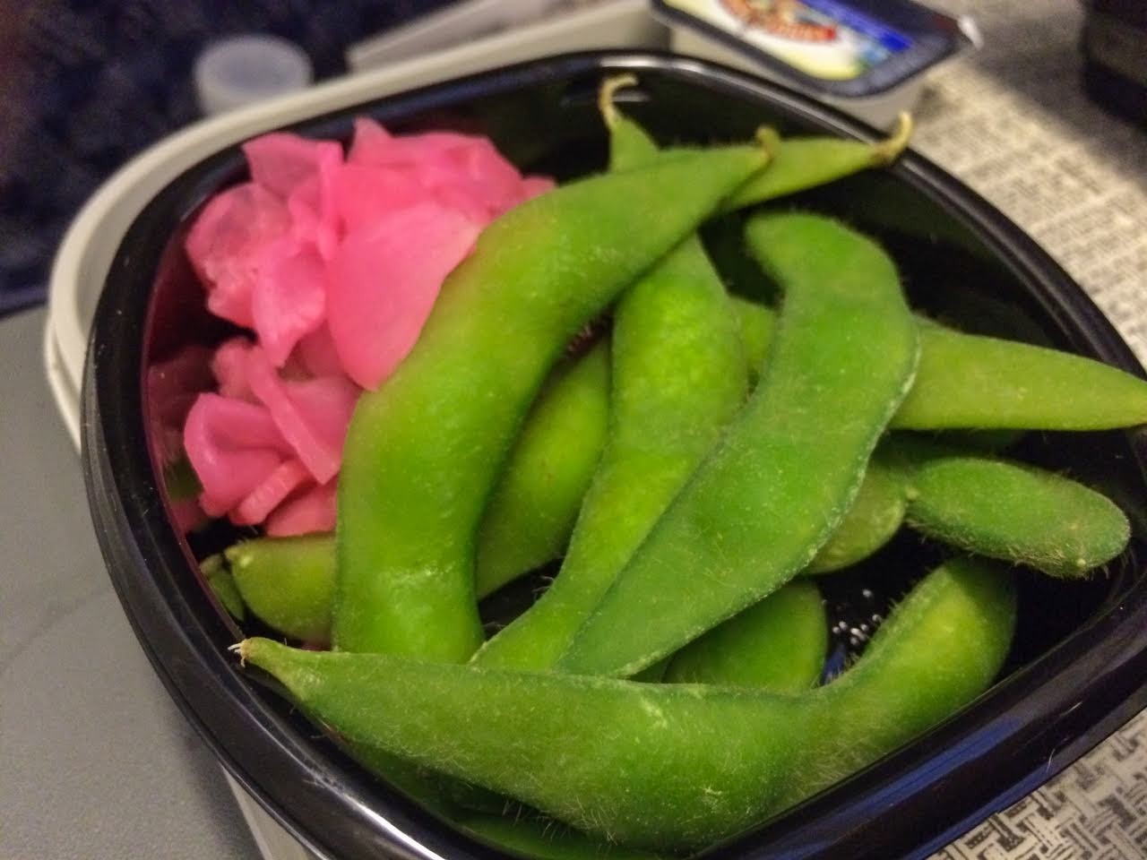 Edamame and pickled radish