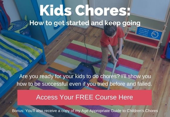 Kids Chores Course with boy vacuuming floor
