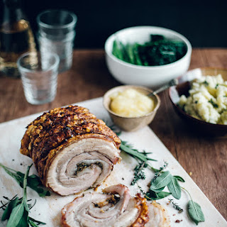 Herb Rolled Pork Belly with Crackling & Homemade Apple Sauce
