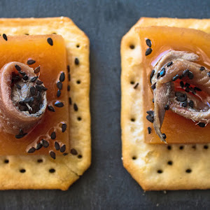 Persimmon Hors D'Oeuvres with Anchovies