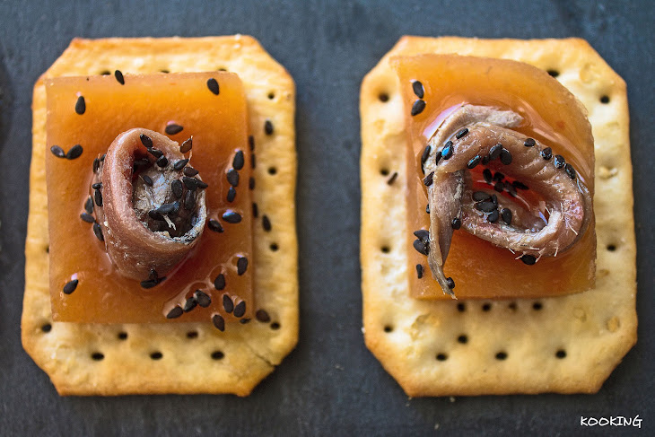 Persimmon Hors D'Oeuvres with Anchovies Recipe