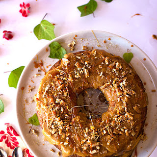 Banana Cake with Butterscotch Sauce and Pecans Recipe