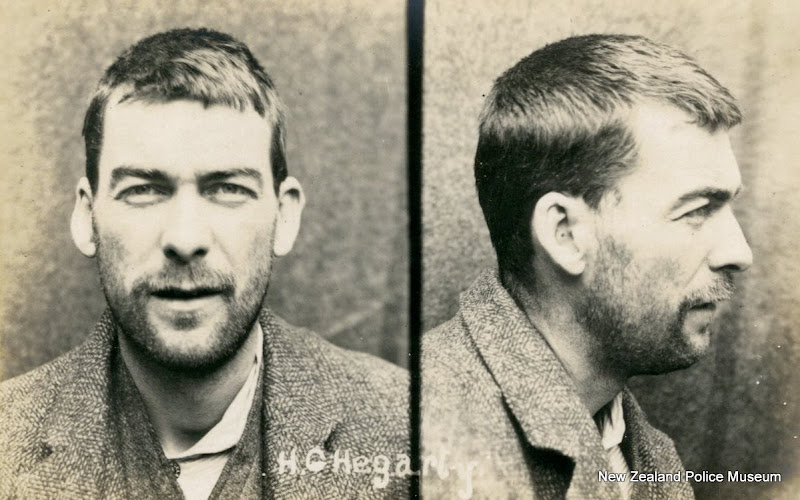 Photo: Henry George Hegarty (b. 1883, Australia). Charged with theft and sentenced to 3 months in gaol on 28 March 1908 (Wellington). A clerk by trade, described as having very hairy chest, arms & legs. Photograph taken on 22 April 1908.