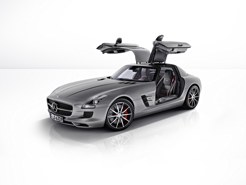 "Photo: SLS AMG GT. Fuel consumption combined: 13.2 l/100 km, CO2 emissions combined: 308 (g/km). The data do not relate to an individual vehicle and do not form part of the offer; they are provided solely for the purposes of comparison between different types of vehicles. The figures are provided in accordance with the German regulation ""PKW-EnVKV"" and apply to the German market only."