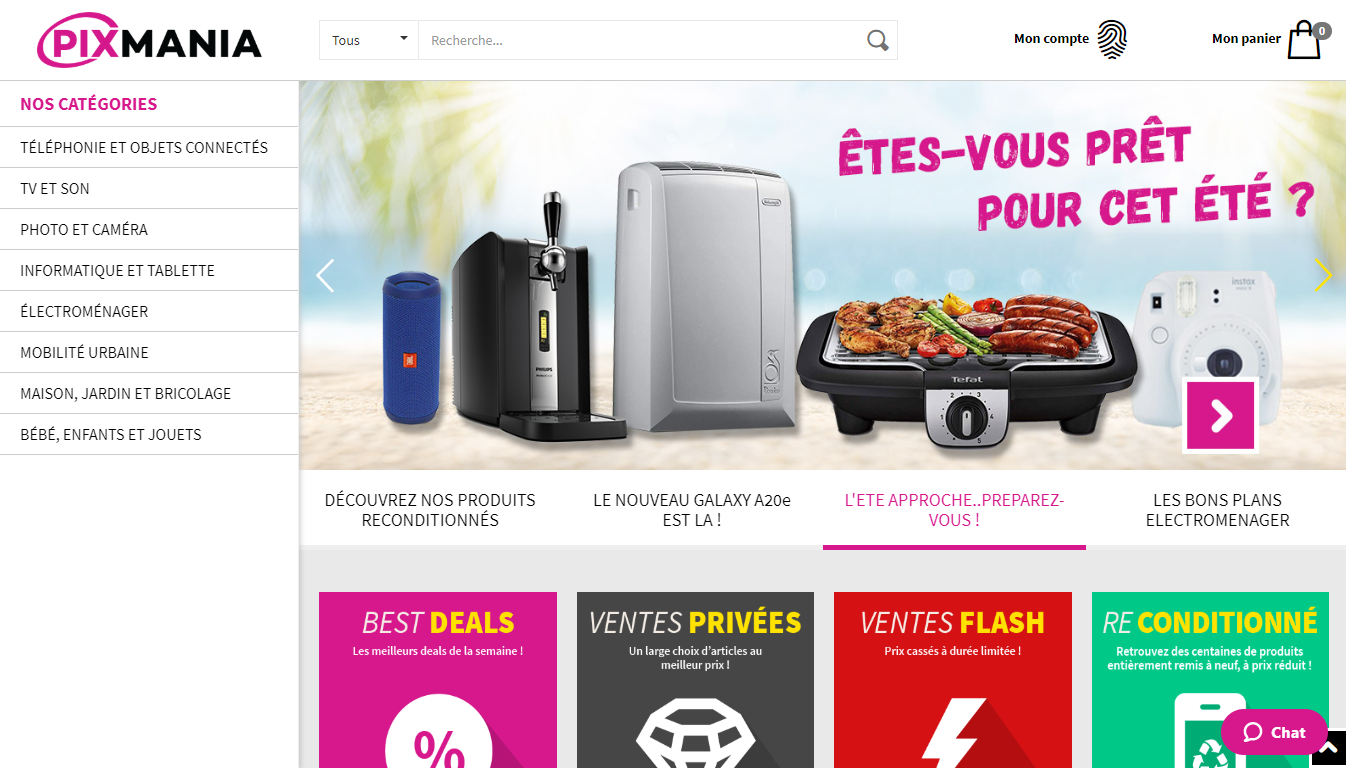 Homepage Pixmania, a marketplace to sell in France