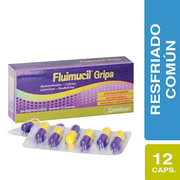 Fluimucil Gripa   Caj.x12Cap. ZAM Acetaminofén Cafeína Cetirzi Fenilefri