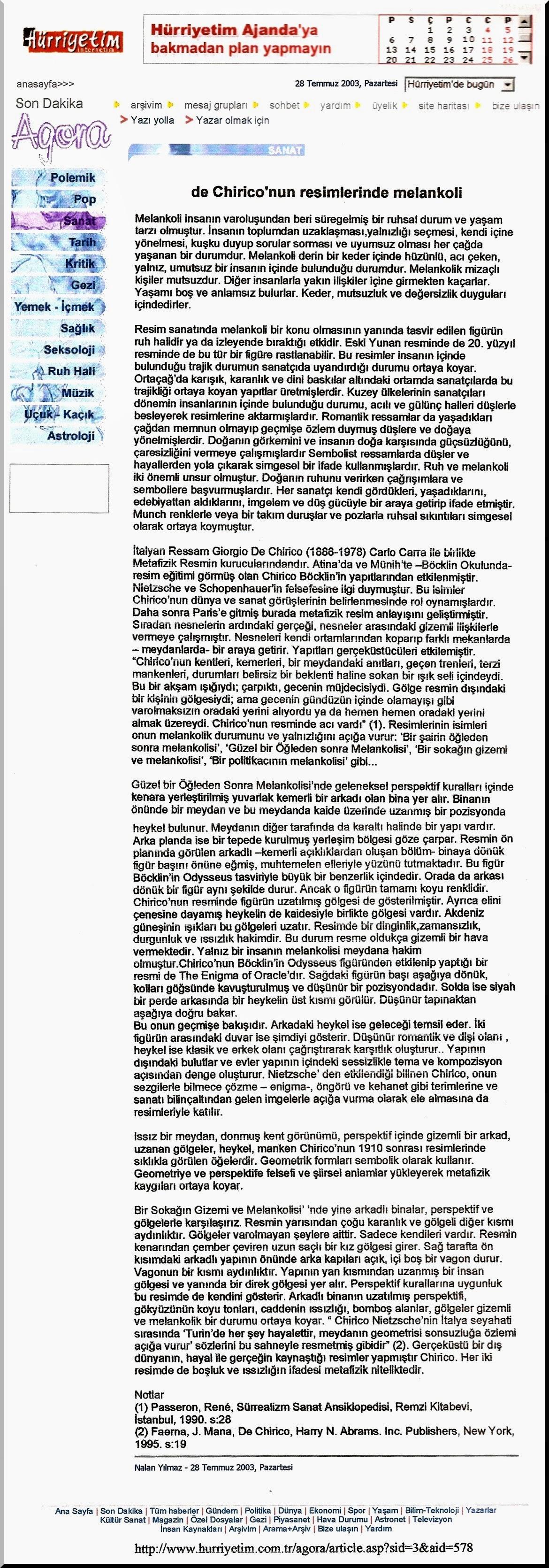 Photo: 34- Giorgio de Chirico'nun Resimlerinde Melankoli, Nalan Yılmaz, 28 Temmuz 2003 Pazartesi, Hürriyet, Agora