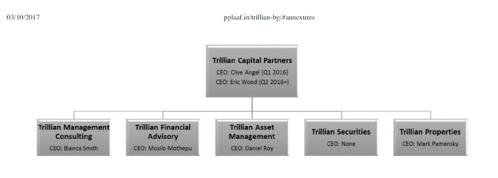 Organogram: Trillian Capital Partners and subsidiaries
