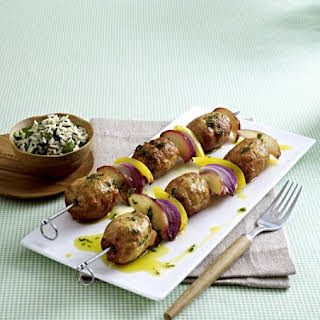 Turkey Meatball Kebabs with Herbed Rice.