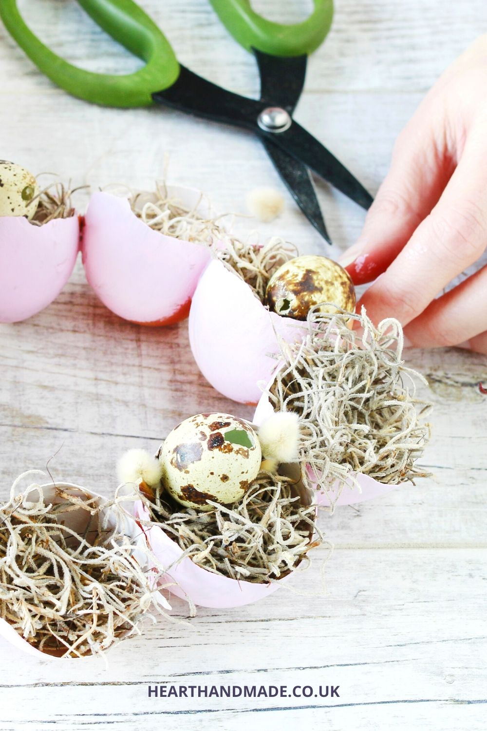 How to make an Egg vase centrepiece - fill with moss, willows and mini eggs