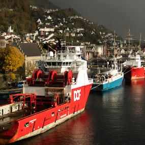 Norwegian work boats by Alan Cline - Transportation Boats ( ships, ocean, norway, boats, sea, fjiords )
