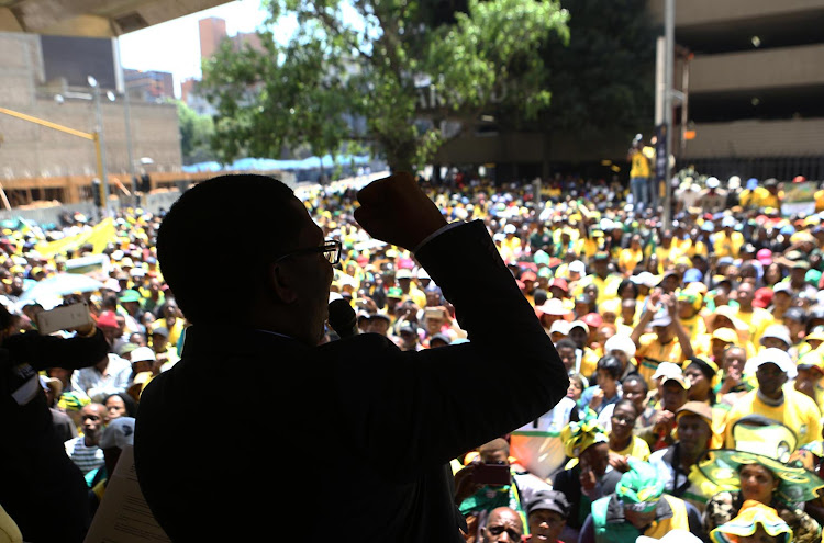 Gauteng ANC Deputy Chairperson, Panyaza Lesufi addresses hundreds of ANC members from greater Johannesburg who marched to the offices of Mayor Herman Mashaba and Eskom to handover memorandums demanding service delivery on October 5 2018
