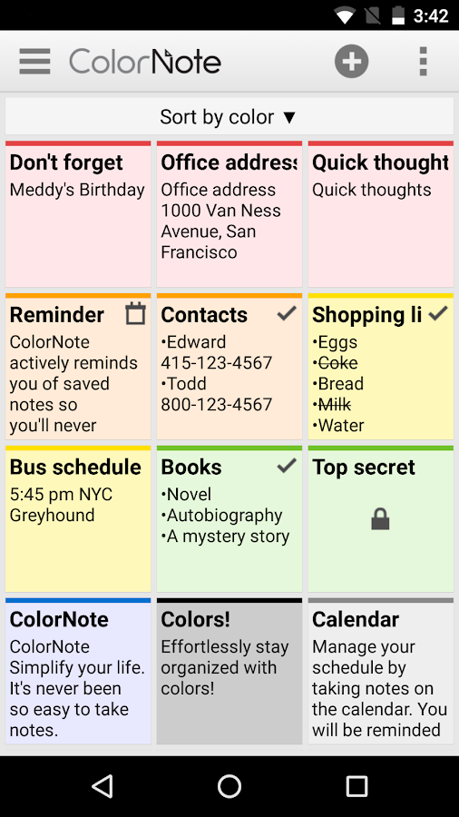 Screenshots of ColorNote Notepad Notes for iPhone