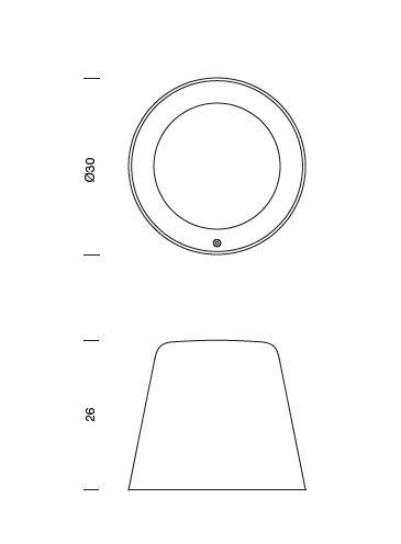 De technische tekening voor de Tumbler verlichtingsarmaturen uit de collectie van Urbidermis by Santa & Cole naar een ontwerp van Industrial Facility